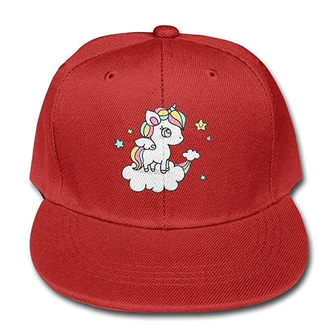 Kids Unicorn Printing Cap Funny Baseball Flat Bill Hats For Girl Boys Red b4b18ccffe6