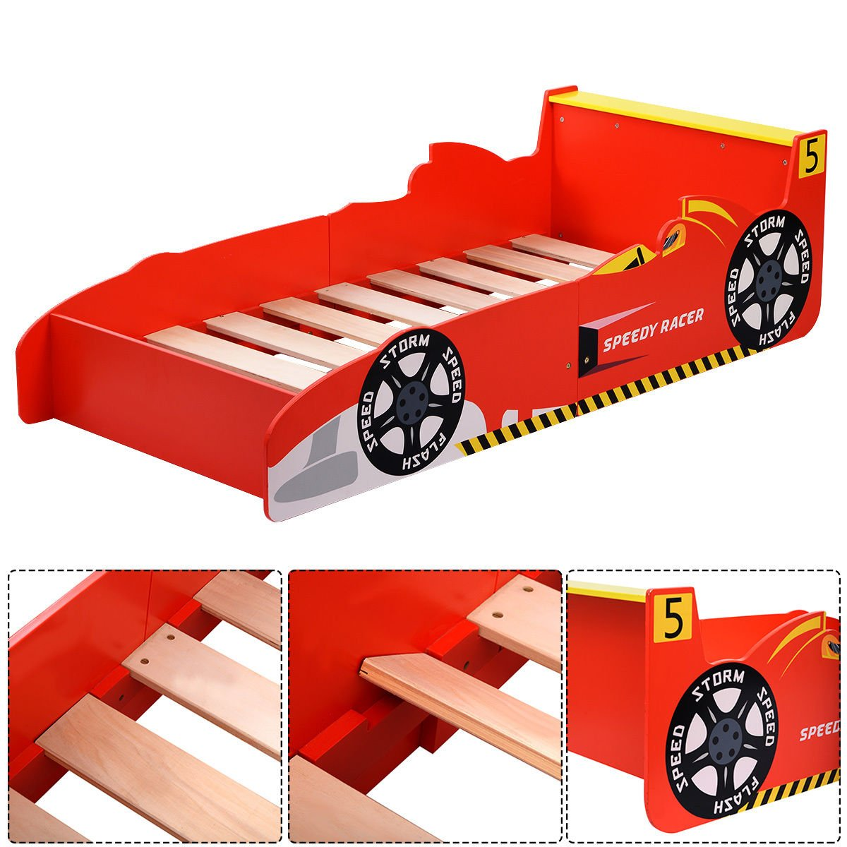 COLIBROX--Kids Race Car Bed Toddler Bed Boys Child Furniture Bedroom Red Wooden New,toddler beds for boys,cheap toddler beds,car bed twin, kids race car Toddler Bed by COLIBROX (Image #6)