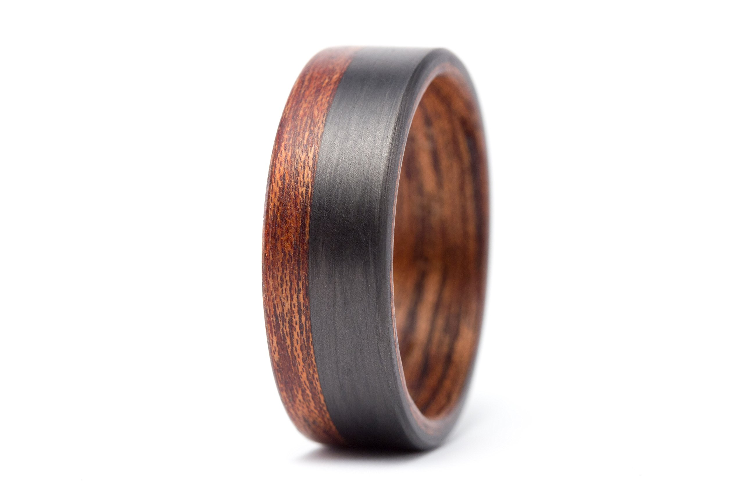 Men's bentwood and carbon fiber ring. Modern and natural wooden cedar wedding band. Water resistant and hypoallergenic.(00404_7N)