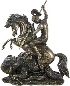 US 12.5 Inch Figure Replica St. George The Dragon Slayer Display Decor