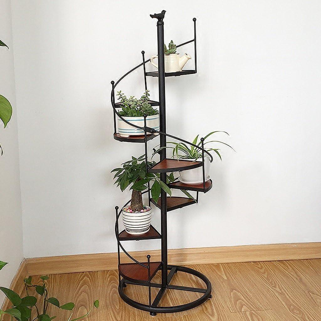 ZHEN GUO Escalera de Caracol de diseño en Negro Escaparate de Metal Unidad de estantería con 8 estantes (8 Niveles) en maceteros Decorativos Decoración de hogar y jardín (Tamaño : Gran): Amazon.es: Hogar