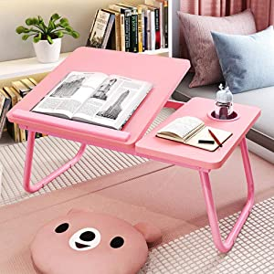Laptop Desk for Bed,Asltoy Laptop Bed Tray Table,Foldable Lap Desk Stand Notebook Desk Adjustable Laptop Table for Bed Portable Notebook Bed Tray Lap Tablet with Cup Holder (Pk)