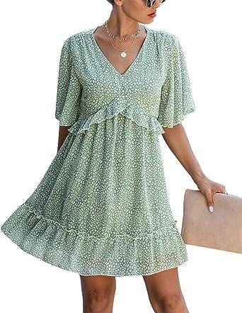 Womens Cold Shoulder Dresses Deep V Neck Summer Floral Print Spaghetti Strap Ruffles Boho Mini Dress