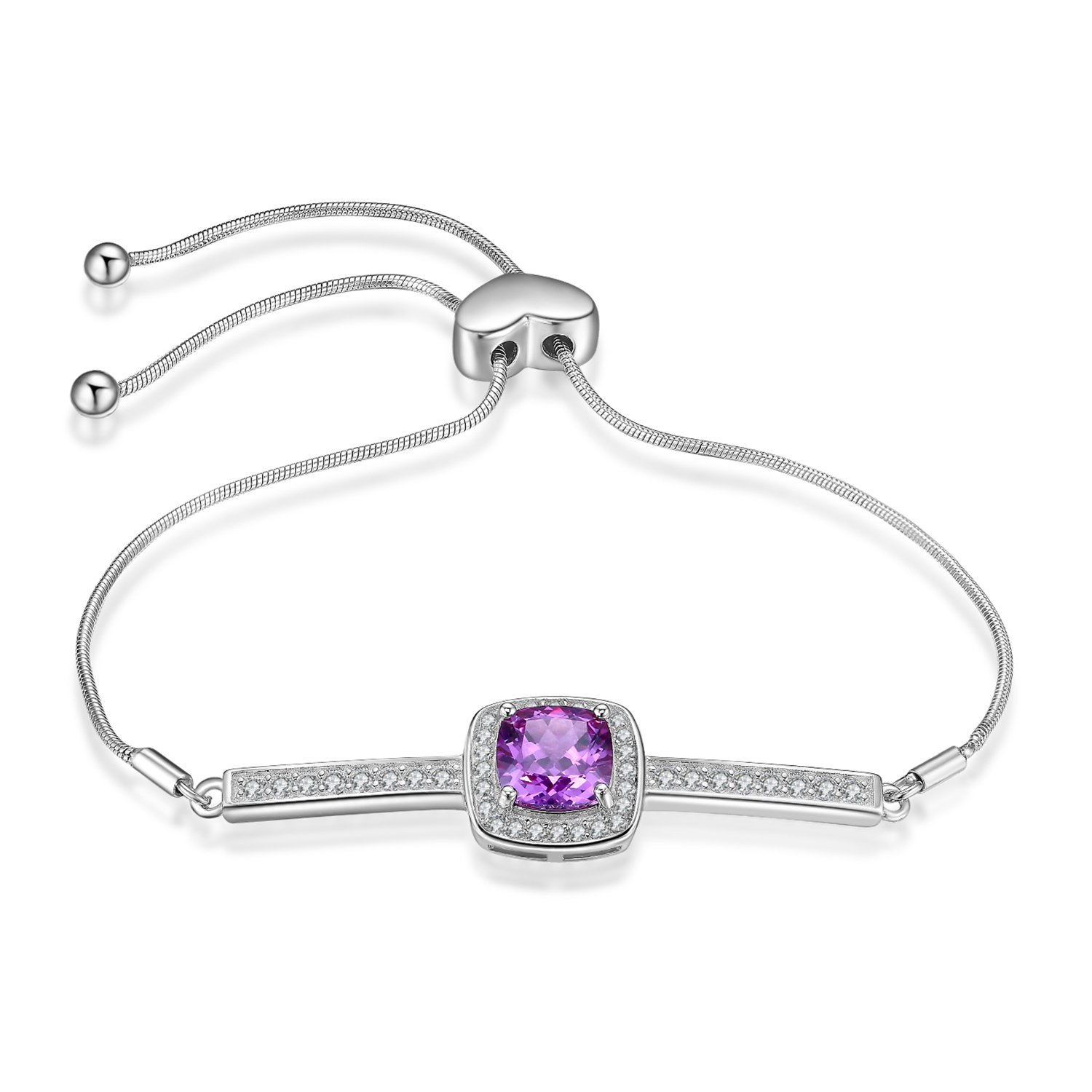 JewelryPalace Elegant 1.8ct Created Alexandrite Sapphire Halo Adjustable Bracelet 925 Sterling Silver AB202361