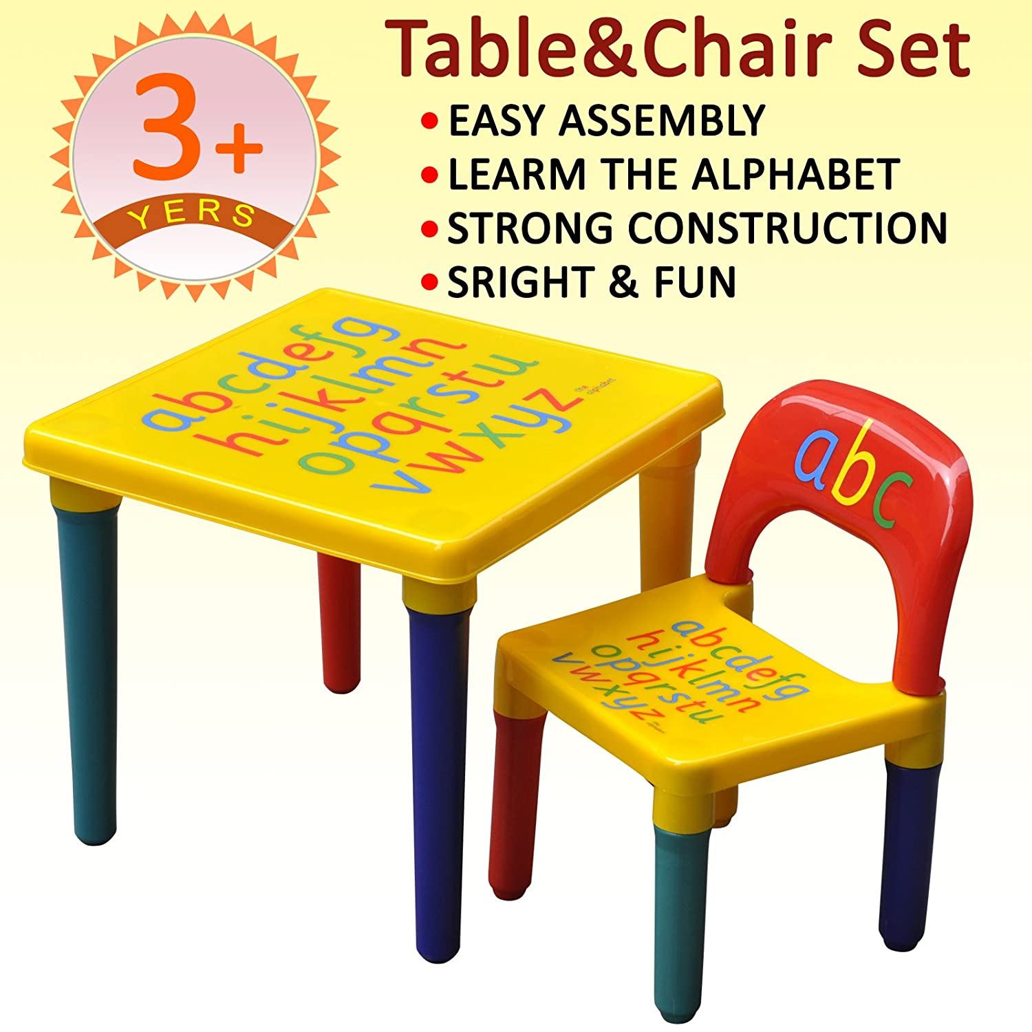 Kids Children Furniture Table and Chair Set Alphabet Design Bedroom Play Room Children's Furniture
