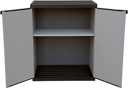 Adventa - Armario bajo de Resina con estantes de 2 Puertas (Interior/Exterior), Gris Negro, 68 x 39,5 x 85 cm: Amazon.es: Hogar