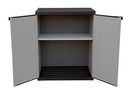 Adventa - Armario bajo de Resina con estantes de 2 Puertas (Interior/Exterior), Gris Negro, 68 x 39,5 x 85 cm