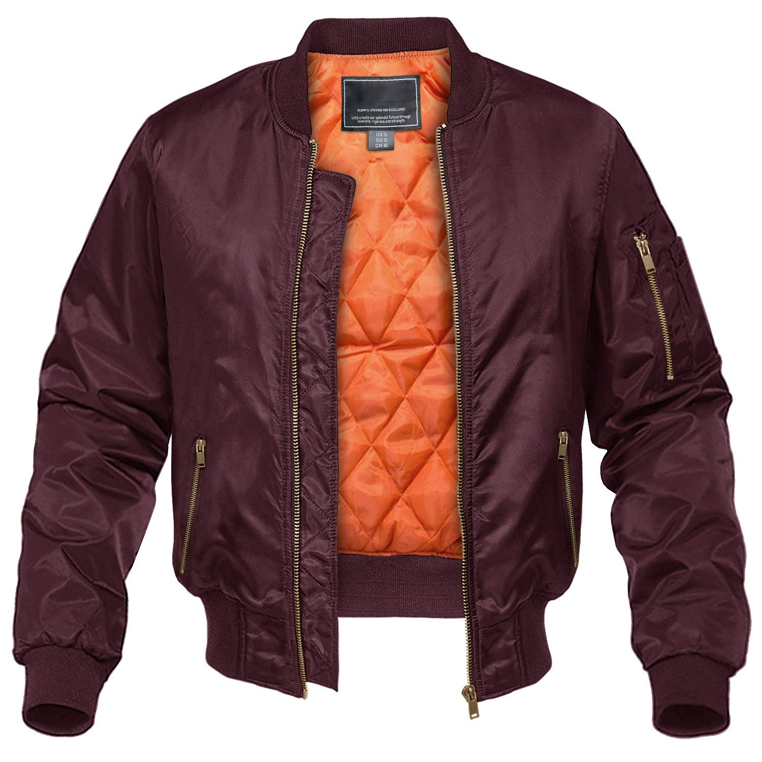 CRYSULLY Men's Bomber Jackets Fall Winter Outerwear Baseball Varsity Flight Jacket Wine Red by CRYSULLY