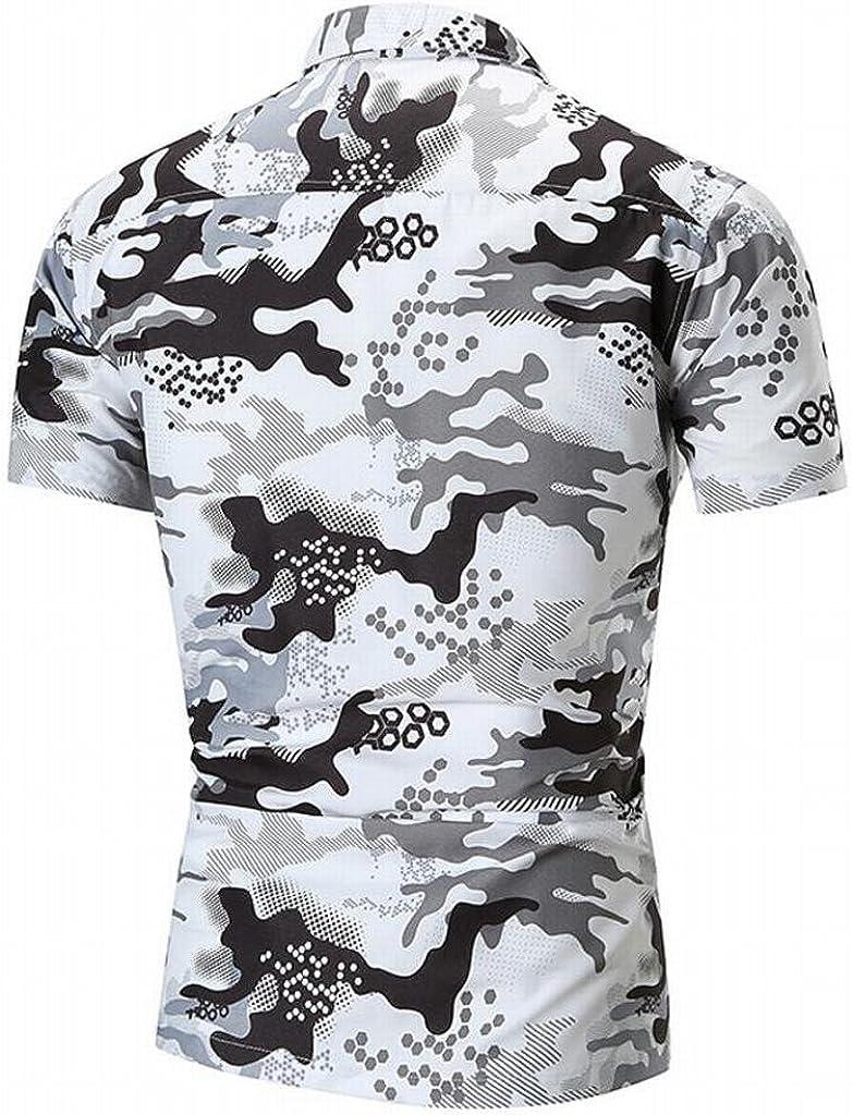ARTFFEL Mens Button Down 3D Print Printed Long Sleeve Casual Shirt Blouse Top