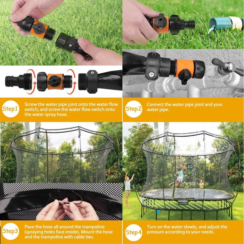 36.9Ft Rynal Trampoline Sprinkler Updated Outdoor Water Play Toys for Kids Fun Summer Backyard Water Park Toys with Water Balloon