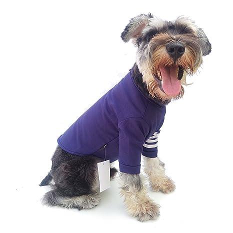 Bomate Pet Perres Camisa Camiseta de Rayas Gatos Ropa para Cachorros Algodón(S,Azul