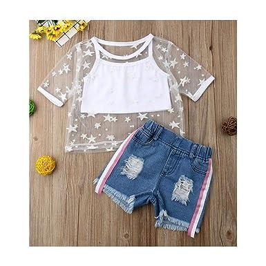 338e15870428d Amazon.com: 2Pcs/Set Toddler Kids Baby Girl Sheers Tank Top ...