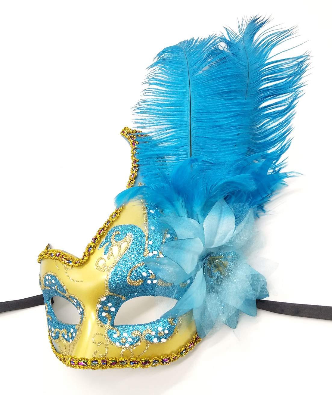 Pluma Mascarada Máscara Halloween Mardi Gras Cosplay trajes veneciano Fiesta Máscara (Verde)
