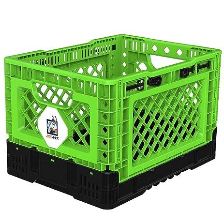 BIGANT Heavy Duty Collapsible U0026 Stackable Plastic Milk Crate   IP403026, 26  Quarts, Small