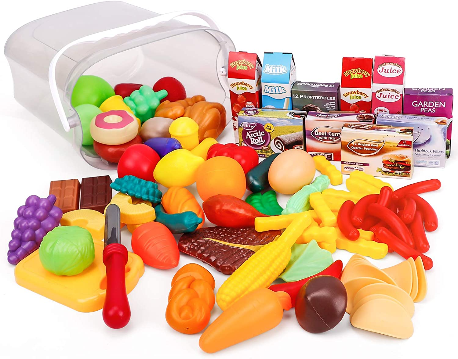 Taochifacai 90-Piece - Pantry in a Bucket - Pretend Play Food Set and Storage Container with Lid -Toy Kitchen Accessories for Kids Toddler playsets