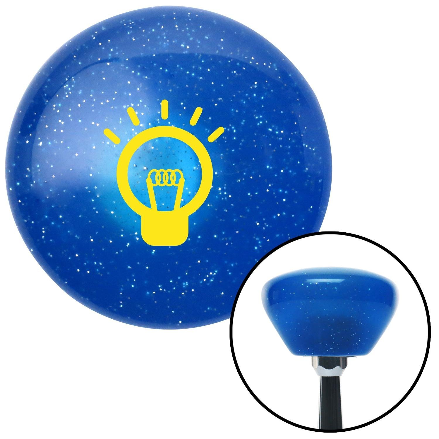 Yellow Light Bulb On American Shifter 187585 Blue Retro Metal Flake Shift Knob with M16 x 1.5 Insert