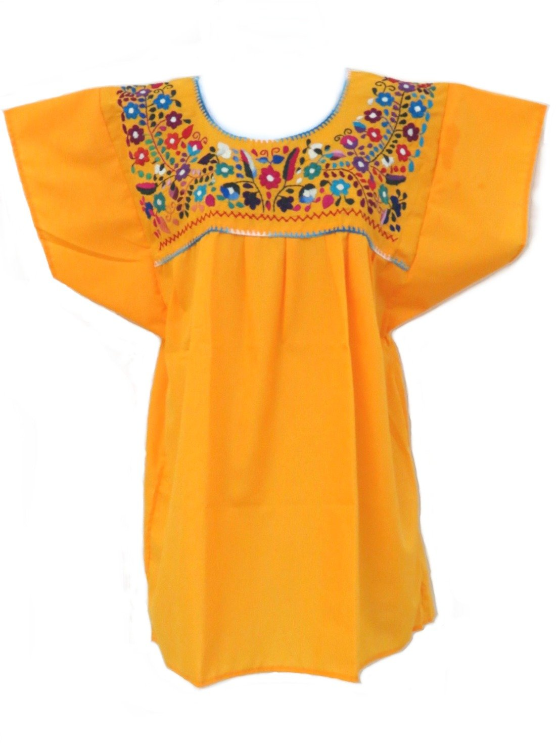 Women's Traditional Canary Mexican Puebla Blouse - DeluxeAdultCostumes.com