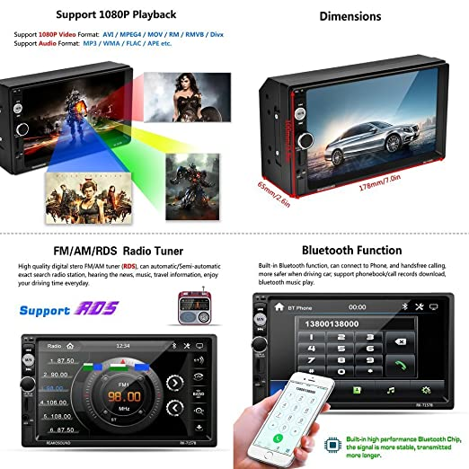 Car Radio with GPS LESHP 7 Inch HD 1080P Touchscreen Car Radio with Reverse  Camera