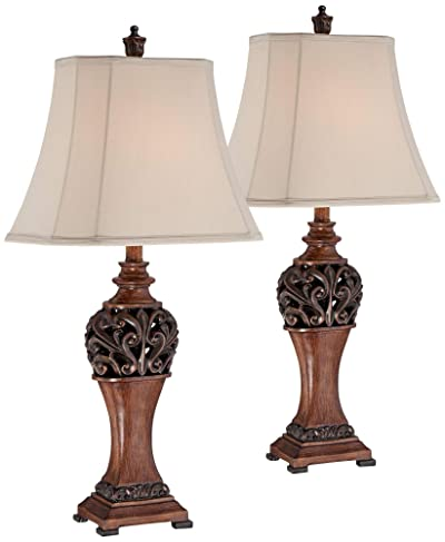 Exeter Traditional Table Lamps Set of 2 Bronze Wood Carved Leaf Creme Rectangular Bell Shade