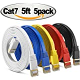 Cat 7 Shielded Ethernet Cable 5 ft 5 Pack ( 10GB ) - Jadaol Fastest Cat7 Flat Ethernet Patch Cables - Internet Cable for Modem, Router, LAN, Computer,switch - Compatible with Cat 5e, Cat 6 Network