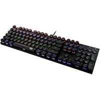 Redragon K350S Retro Mechanical Gaming Keyboard, Rainbow Backlit Illuminated Gaming Keyboard 104 Key, Blue Switches