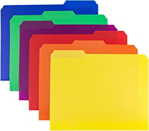 Dunwell Colored Plastic 3-TAB File Folders (12 Pack, 6 Assorted Colors) Letter Size, 1/3-Cut Tabs, More Durable Than Manila Folders Labels, Writable Erasable Top Tabs, Document Filing Storage