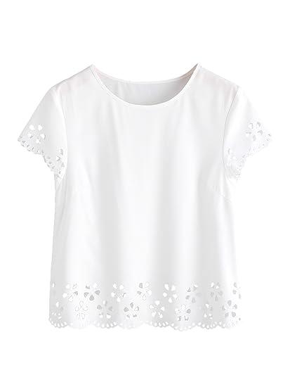 6a98cc448870 MakeMeChic Women s Loose Short Sleeve Solid T-shirt Tops Laser Cut Blouse  White L
