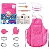 Anpole 11Pcs Kids Chef Set, Children Cooking Play Kitchen Waterproof Baking Aprons, Oven Glove, Eggbeater, Cookie Cutters for Girl's Gift - Pink