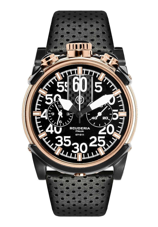 CT Scuderia – CS10102 – 011 – Armbanduhr – Quarz Chronograph – Schwarzes Ziffernblatt – Armband Leder Schwarz