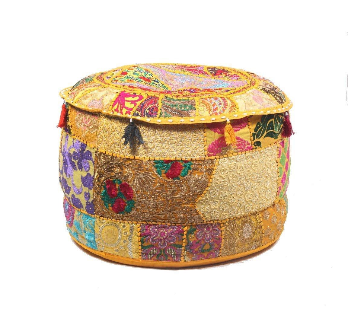 GANESHAM Indian Home Decor Hippie Patchwork Bean Bag Boho Bohemian Hand Embroidered Ethnic Handmade Pouf Ottoman Vintage Cotton Floor Pillow & Cushion 13'' H x 18'' Diam.