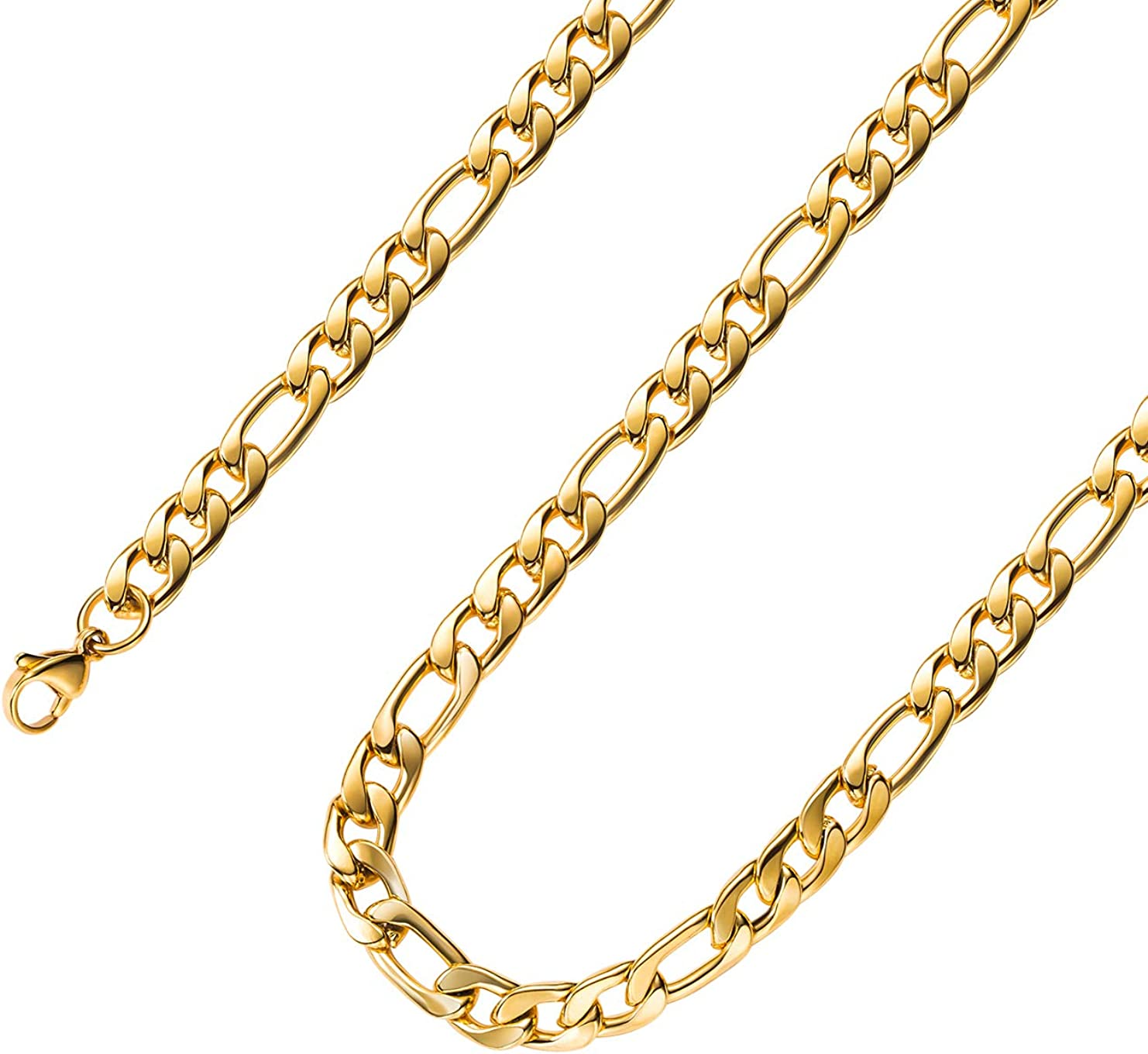 Estendly 18k Real Gold Plated 16 Inches Figaro Chain Necklace 4mm Stainless Steel Figaro Link Chain For Men Women Amazon Com