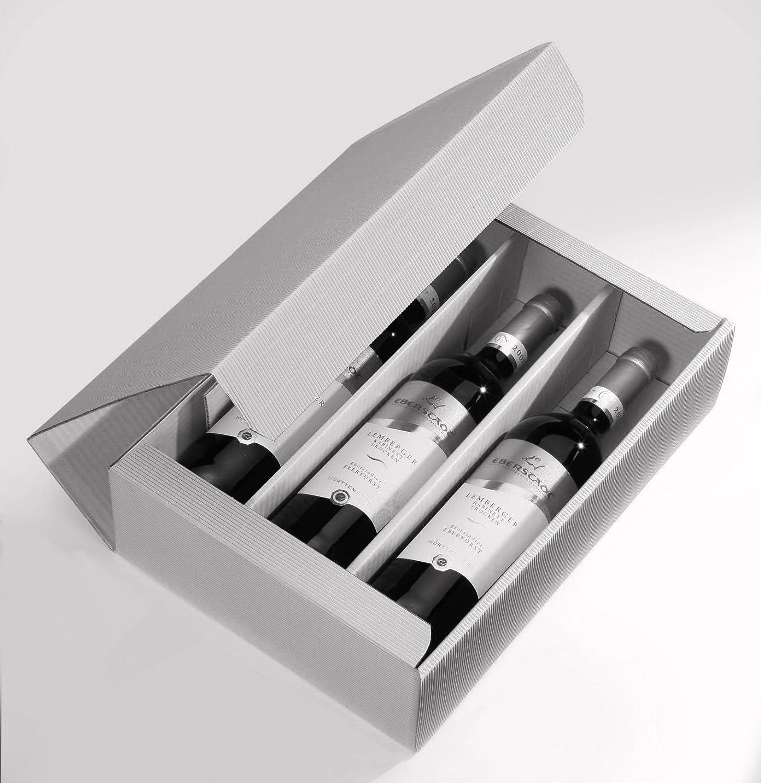10 x Weinkarton, Weinverpackung, Flaschenkarton (3 Flaschen) - Rustikal Weinkarton24.com
