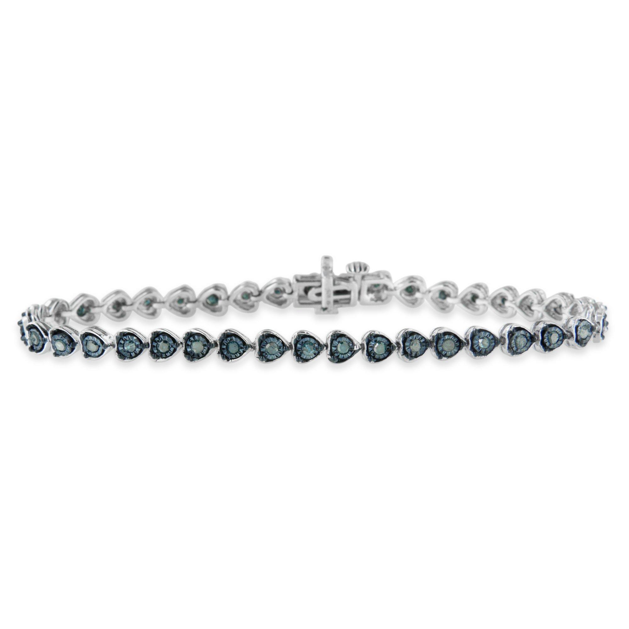 Sterling Silver 1ct TDW Treated Blue Rose Cut Diamond Heart Link Bracelet (Blue ,I2-I3)