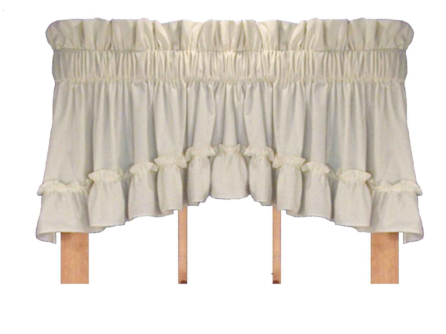 Window Toppers Stephanie Country Style Ruffle Crescent Valance Curtain - 1 1/2 Inch Rod Pocket, Natural