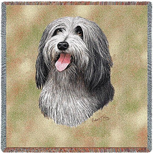 (Pure Country Weavers - Bearded Collie Woven Throw Blanket with Fringe Cotton. USA Size 54x54)