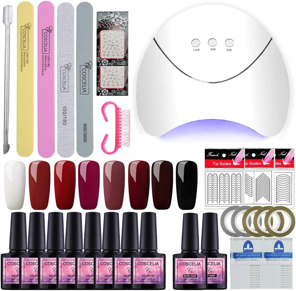Saint-Acior Esmalte Semipermanente en Gel Kit Uñas de Gel 8pcs Gel Uñas Soak off 8ml UV/LED Lámpara Secador de Uñas Top Coat Base Coat Manicura Kit