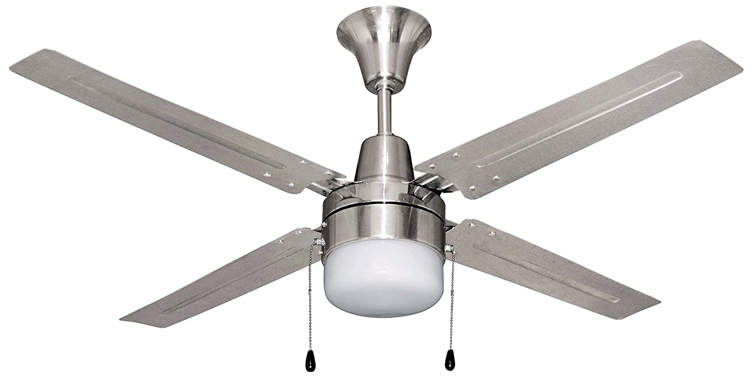 Litex E Ub48bc4c1 Urbana 48 Inch Ceiling Fan With Four Brushed Chrome Blades And Single Light Kit Frosted Glass Contemporary Com