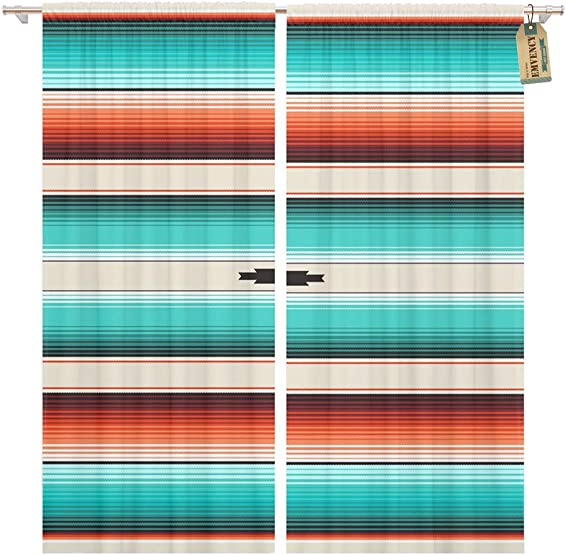 Golee Window Curtain Turquoise Orange Navajo White Stripes Mexican Serape Threads Native Home Decor Pocket Drapes 2 Panels Curtain 104 x 96 inches