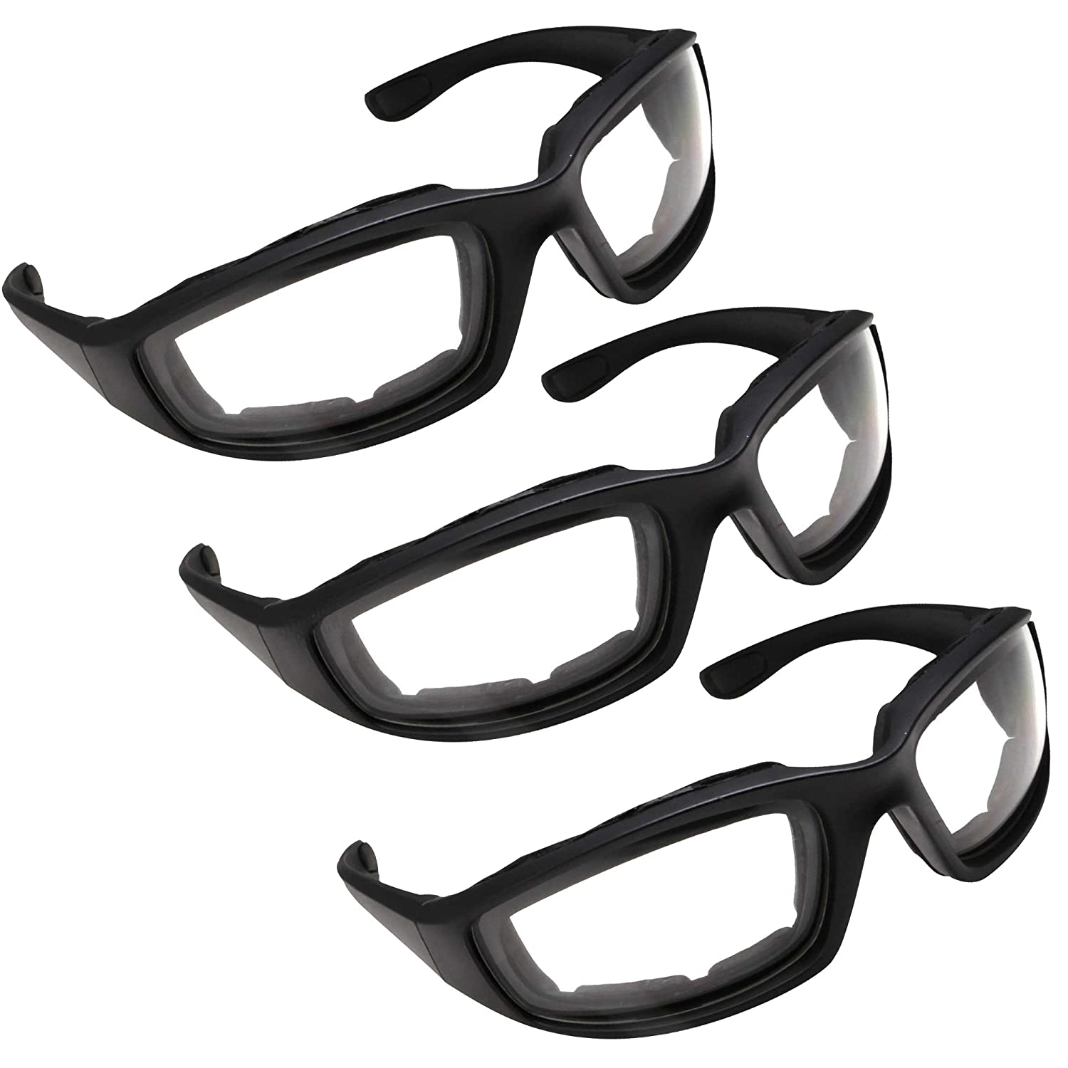 64f77142f5c Amazon.com  3 Pair Motorcycle Riding Glasses for Half Helmet 3 Pairs Clear  Glasses  Automotive