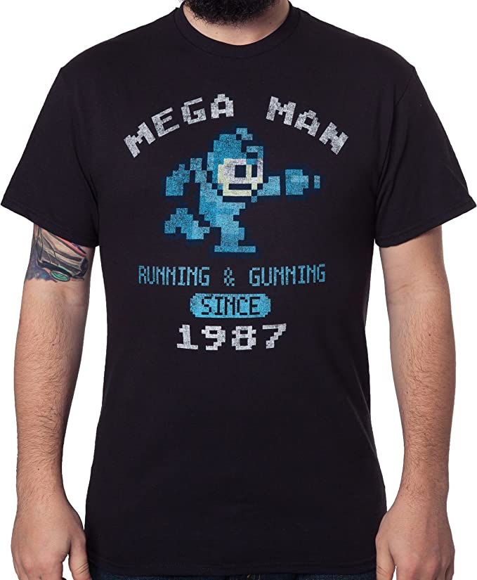 Capcom Mega Man Since 1987 vintage distressed pixel T-Shirt.