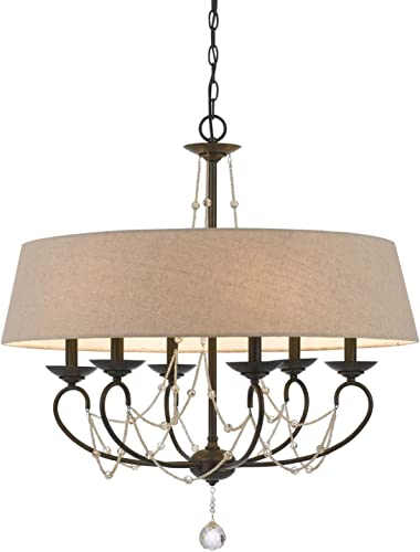 Cal Lighting FX-3532 6 Transitional Six Light Chandelier from Dawson Collection in Bronze Dark Finish, 30.00 inches