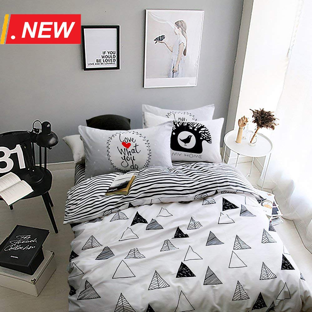 【Newest Arrival】Duvet Cover for Kids 3 Piece Boys Girls Duvet Cover Twin Cotton Geometric Comforter Cover Set White Black Reversible Stripes Bed Cover Set Soft with Ties Zipper,NO Comforter NO Sheet
