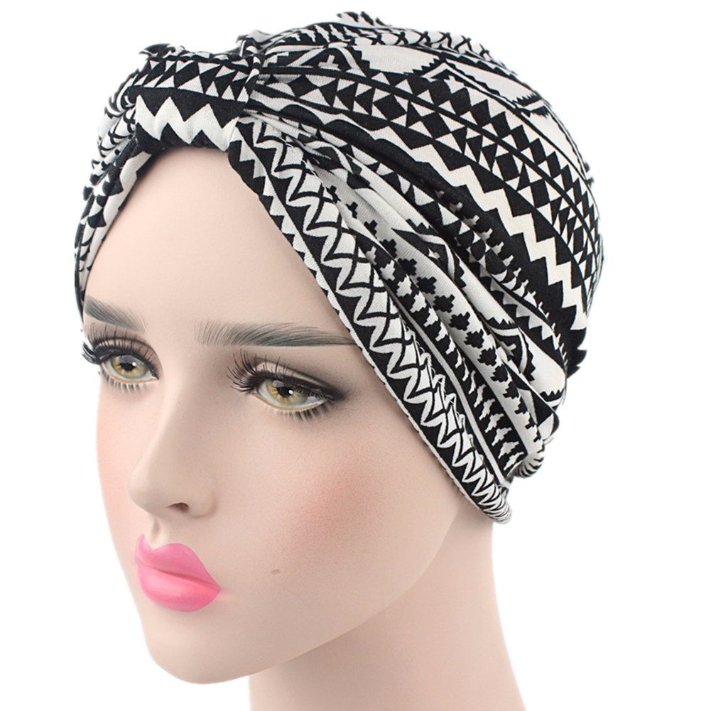 beauty YFJH Printed Soft Pre Tied Cotton India Chemo Cap Beanie Turban Headwear For Cancer (Ethnic Black)