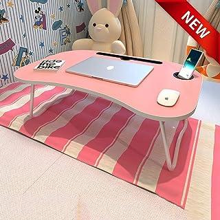 Tavolo del computer portatile Letto da tavolo Scrivania Pieghevole vassoio da colazione Tavolino da campeggio Tavolino da colazione per esterno per il cassetto del letto (Color : Pink)