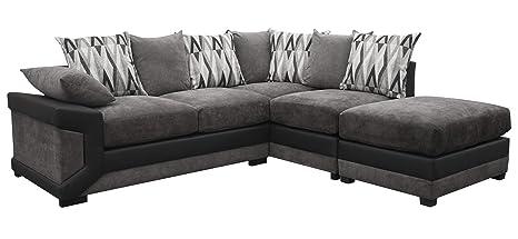 Louisiana Large Corner Sofa Suite Black/Grey (Right): Amazon ...