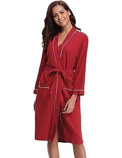 a8fbe2c107 Aibrou Bathrobes for Women Waffle Weave Spa Robe Womens Kimono Lightweight Cotton  Robe