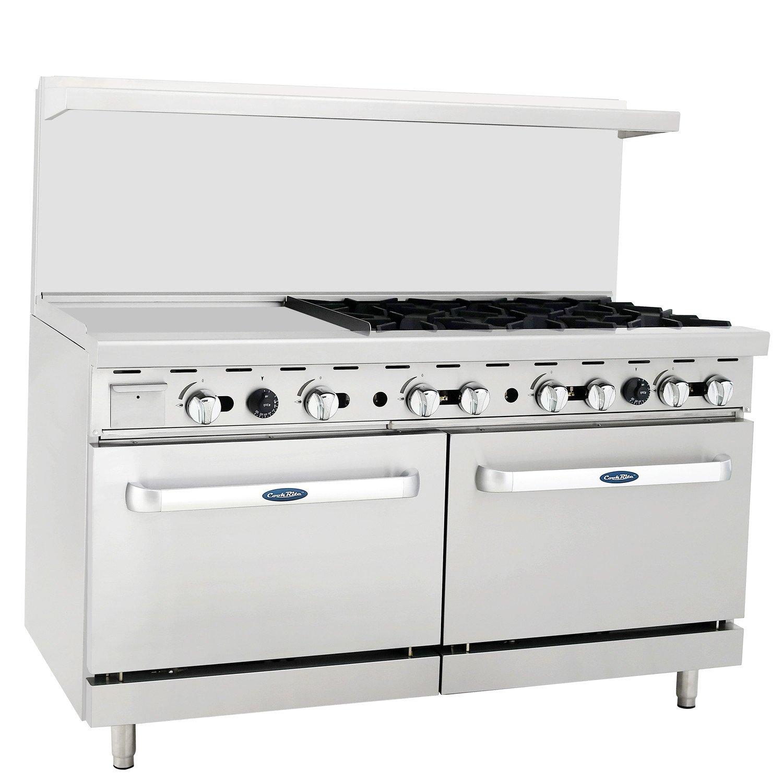 CookRite Liquid Propane Range 6 Burner Hotplates With 24'' Manual Commercial Griddle 2 Standard Ovens 60''- 240000 BTU