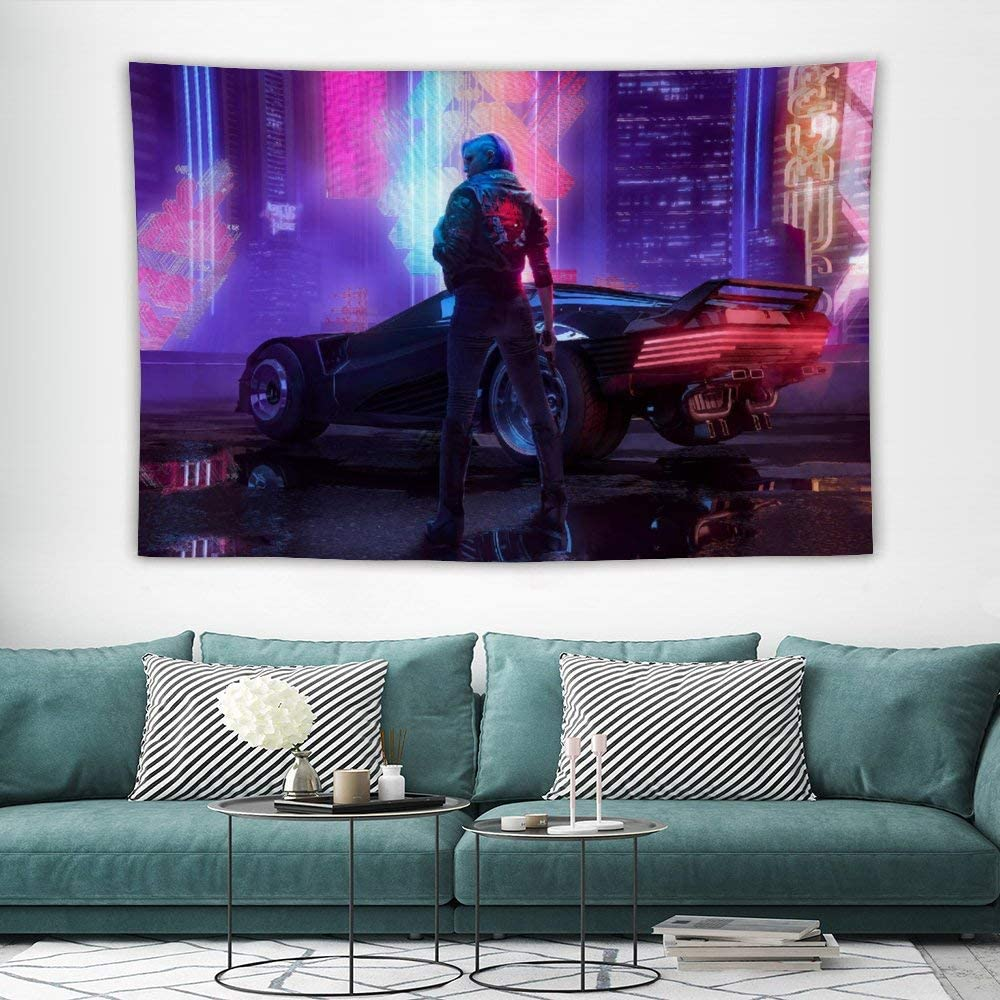 Bargburm Cyber-Punk Cityscape Futuristic Tapestry Wall Hanging Tapestries Black & White Wall Blanket Wall Art Home Decor for Living Room Bedroom (39''x 60'')
