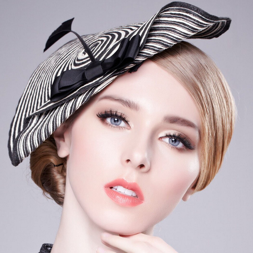 a2d0ef3e Hibelief Women Sun Hats Arrow Striped Derby Fascinator Hats Wedding Caps at  Amazon Women's Clothing store: