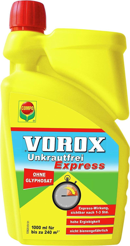 Compo vorox® Unkrautfrei Express Herbicida Concentrado, con Efecto rápido, contra Las Malas Hierbas, Las Algas y el Musgo, 1000ml